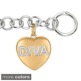 Sweethearts Diamond Accent 'Diva' Sentiment Heart Bracelet (H-I, SI1-SI2)