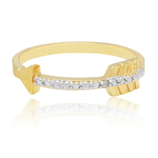 Finesque Gold Overlay Diamond Accent Sideways Arrow Ring