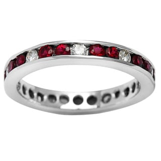 18k White Gold 1/2ct TDW Ruby Eternity Estate Ring (I-J, SI1-SI2)