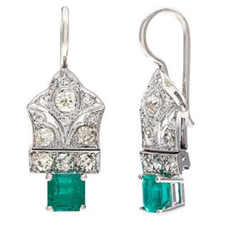 Platinum 1 1/10ct TDW Diamond Emerald Estate Earrings (I-J, SI1-SI2)