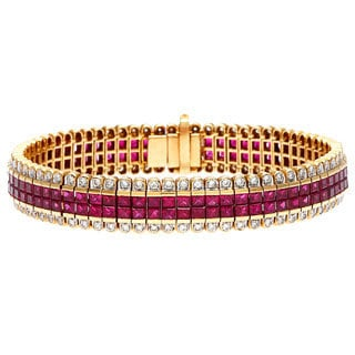 Pre-owned 18k Yellow Gold 4 1/2ct TDW Invisible Set Ruby Estate Bracelet (I-J, SI1-SI2)