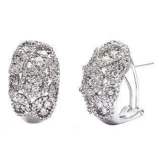 18k White Gold 2 1/2ct TDW Cluster Huggy Estate Earrings (H-I, SI1-SI2)