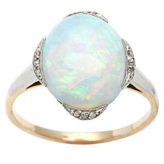 14k Yellow Gold 1/10ct TDW Diamond Opal Antique Cocktail Ring (L-M, I2-I3)
