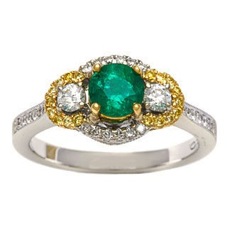 18k Yellow Gold 3/5ct TDW Green Emerald Ballerina Ring (G-H, VS1-VS2)