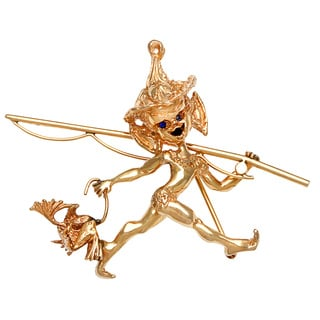 Ruser 14k Yellow Gold Mischevious Cherub 1950s Brooch