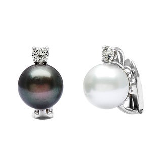 14k White Gold 1/2ct TDW Pearl and Diamond Drop Estate Earrings (H-I, VS1-VS2) (13 mm)