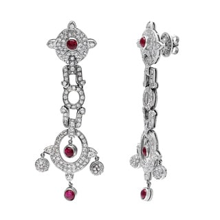 18k White Gold 1 1/2ct TDW Ruby Chandelier Estate Earrings (H-I, SI1-SI2)
