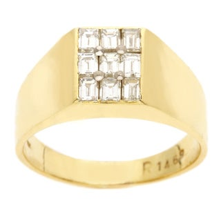Pre-owned 18k Yellow Gold Men's 3/4ct TDW Diamond Pinky Estate Ring (H-I, VS1-VS2)