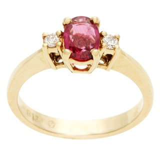 14k Yellow Gold 1/10ct TDW Diamond and Ruby Ballerina Estate Ring (G-H, SI1-SI2)