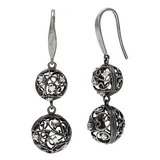 18k Black Gold 1/5ct TDW Filigree Ball Estate Earrings (I-J, SI1-SI2)
