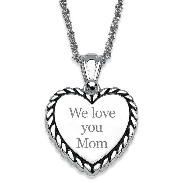 Silver Plated Rope Framed Engraved 'We love you Mom' Heart Necklace