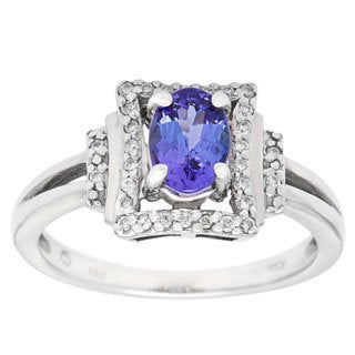 14k White Gold 1/8ct TDW White Diamond and Tanzanite Ring (H-I, SI1-SI2)