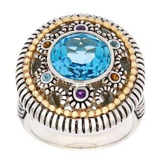14k White Gold and Sterling Silver Blue Topaz and Multi-gemstones Ring
