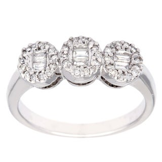 14k White Gold Baguette and Round-cut Three Stone Diamond Ring (H-I, SI1-SI2)