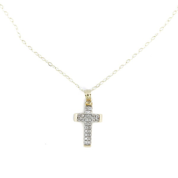 14k Gold Cross with CZ Gemstones and Mariner Link Chain