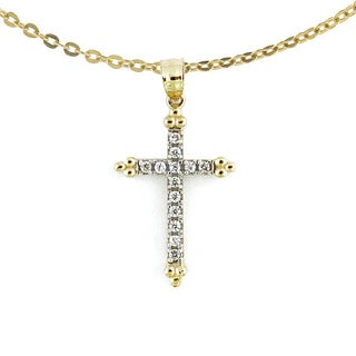 14k Gold Cross with CZ Gemstones and Gold Detailing with Chain