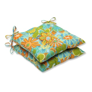 Pillow Perfect Outdoor Glynis Floral Wrought Iron Seat Cushion (Set of 2)