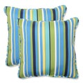 Pillow Perfect Outdoor Topanga Stripe Lagoon 18.5-inch Throw Pillow (Set of 2)