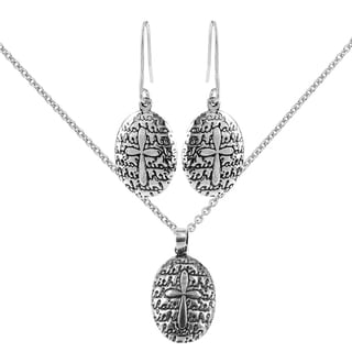 Faith Inscribed Double Sided Christian Cross Jewelry Set (Thailand)