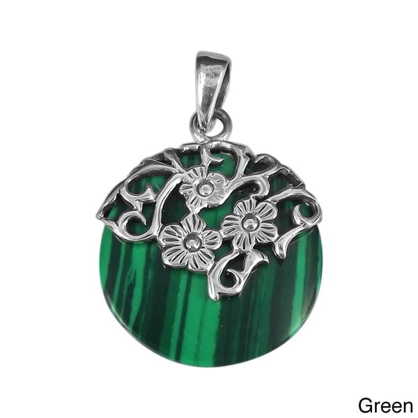 Daisy Vines Adorned Stone Disc .925 Sterling Silver Pendant (Thailand)
