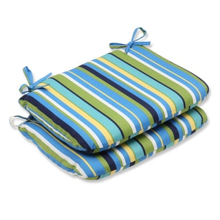 Pillow Perfect Outdoor Topanga Stripe Lagoon Rounded Corners Seat Cushion (Set of 2)