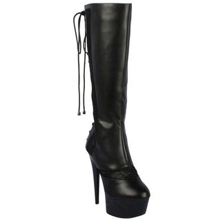 Ellie Women's '609-Haley' Black Knee-high Lace-back Stiletto Boots