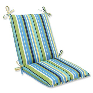 Pillow Perfect Outdoor Topanga Stripe Lagoon Squared Corners Chair Cushion