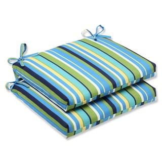 Pillow Perfect Outdoor Topanga Stripe Lagoon Squared Corners Seat Cushion (Set of 2)