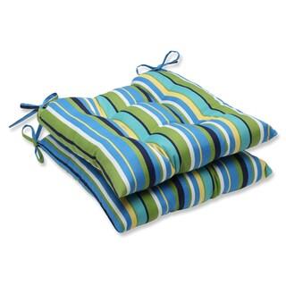 Pillow Perfect Outdoor Topanga Stripe Lagoon Wrought Iron Seat Cushion (Set of 2)