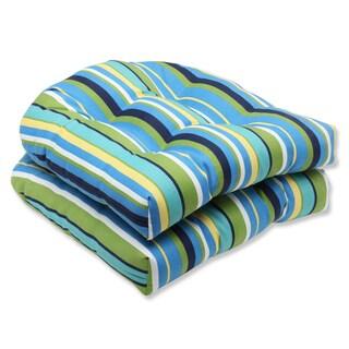 Pillow Perfect Outdoor Topanga Stripe Lagoon Wicker Seat Cushion (Set of 2)