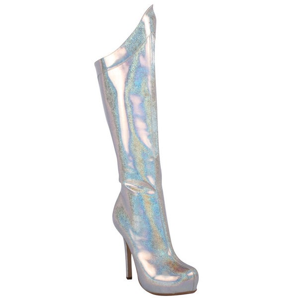 Ellie Women's '517-Mistress' Silver Hologram Metallic Knee-high Boots