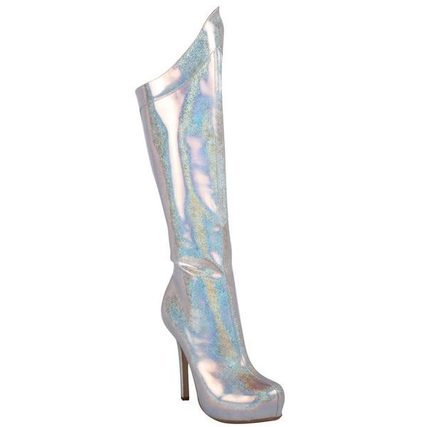 Ellie Women's '517-Mistress' Silver Hologram Metallic Knee-high Boots