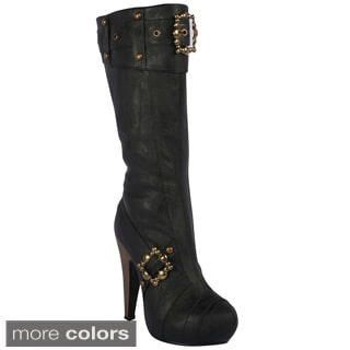 Ellie Women's '426-Aubrey' Buckles And Studs Knee-high Boots