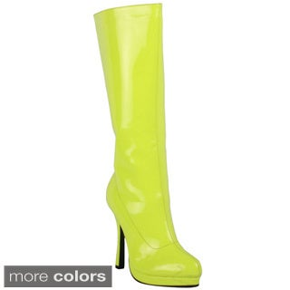 Ellie Women's '421-Zenith' Neon Knee-high Boots