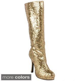 Ellie Women's '421-Zara' Glittery Knee-high Boots