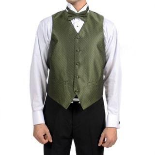 Ferrecci Men's Olive Green Diamond Pattern 4-piece Vest Set