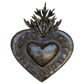 Handcrafted Recycled Steel Drum Flaming Heart Wall Art (Haiti)