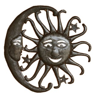 Handcrafted Recycled Steel Sun, Moon and Stars Wall Art (Haiti)