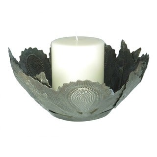 Handcrafted Recycled Steel Drum Sunflower Candle Holder Art (Haiti)