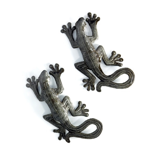 Handcrafted Recycled Steel Drum Set of 2 Geckos Wall Art (Haiti)