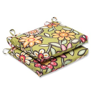 Pillow Perfect Outdoor Wilder Kiwi Squared Corners Seat Cushion (Set of 2)