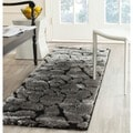 Safavieh Shag Black/ Grey Rug (2'3 x 9')