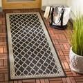 Safavieh Indoor/ Outdoor Courtyard Black/ Beige Rug (2'3 x 10')