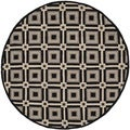 Safavieh Indoor/ Outdoor Four Seasons Black/ Grey Rug (4' Round)
