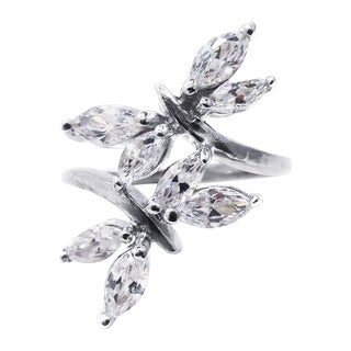 925 Sterling Silver Shimmering Cubic Zirconia Double Dragonfly Ring (Thailand)