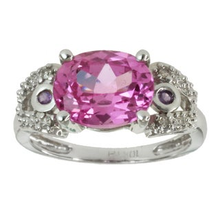 Michael Valitutti 10k White Gold Created Pink Sapphire and Diamond Accent Ring