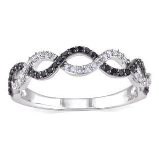 Miadora 14k White Gold 1/4ct TDW Black and White Diamond Infinity Ring (G-H, I1-I2)