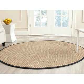 Safavieh Casual Natural Fiber Natural and Black Border Seagrass Rug (6' Round)