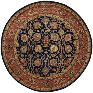 Safavieh Handmade Persian Legend Navy/ Rust Wool Rug (6' Round)