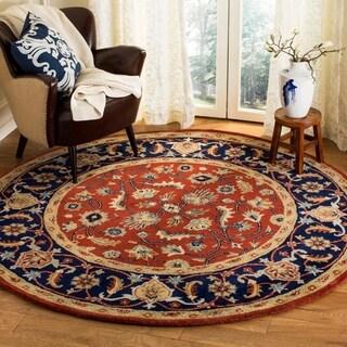 Safavieh Handmade Royalty Rust/ Navy Wool Rug (6'6 Round)